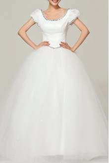 Lace Off-the-Shoulder Floor Length Ball Gown Dress with Crystal