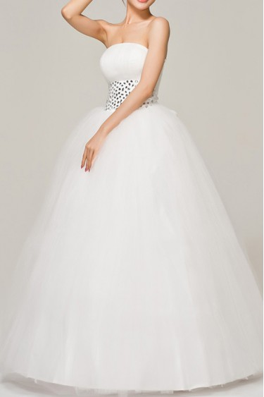 Organza Strapless Ball Gown Dress with Crystal