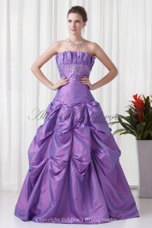 Taffeta Strapless Neckline A-line Floor-Length Embroidered Prom Dress