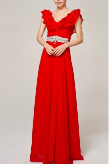 Net Straps Neckline Ball Gown Dress with Pearls