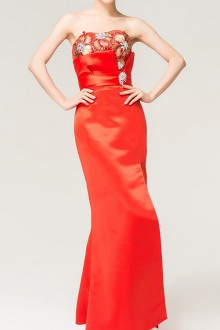 Organza One Shoulder Ball Gown Dress with Crystal