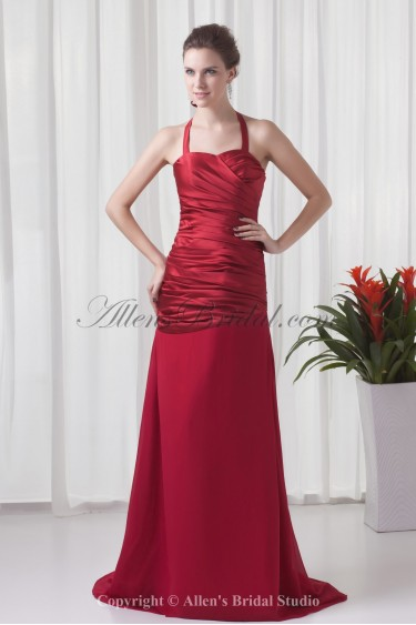Satin and Chiffon Halter Neckline A-line Sweep train Directionally Ruched Prom Dress
