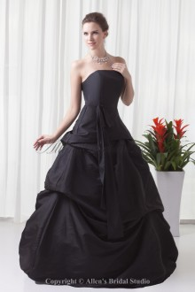Taffeta Strapless Neckline A-line Floor-Length Prom Dress