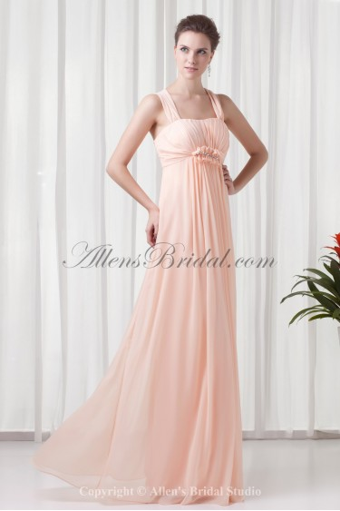 Chiffon Square Neckline Column Floor-Length Crystals Prom Dress