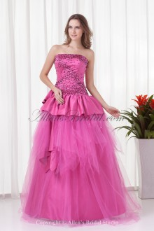 Satin Strapless Neckline A-line Floor-Length Sequins Prom Dress