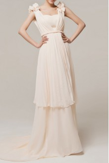 Chiffon One Shoulder Floor Length A-line Dress with Handmade Flowers