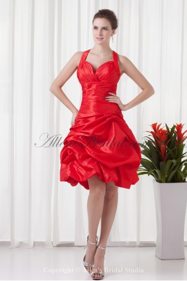 Taffeta Straps Ball Gown Knee-Length Cocktail Dress