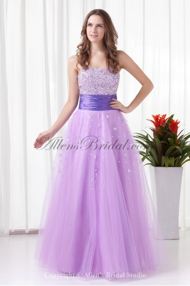 Net and Satin Strapless A-line Floor-Length Sequins Prom Dress