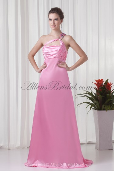 Satin One-shoulder Neckline A-line Sweep train Directionally Ruched Prom Dress