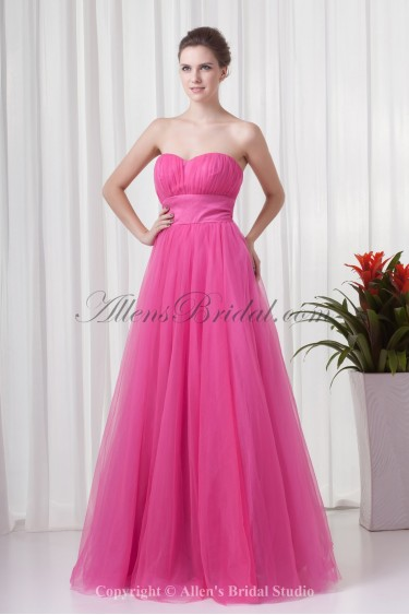 Net Sweetheart Neckline A-line Floor Length Sash Prom Dress