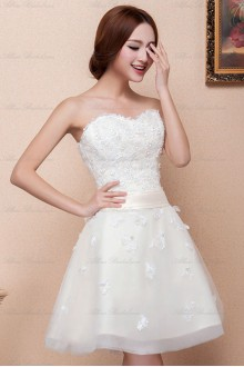 Lace and Satin Sweetheart Dress with Bow