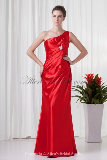 Satin One-Shoulder Neckline Sheath Floor Length Ruched Prom Dress