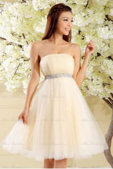 Satin and Tulle Strapless Dress with Diamond