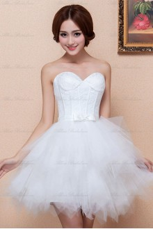 Satin and Tulle Sweetheart Dress with Embroidered