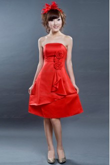 Satin Strapless Dress with Handmade Flowers