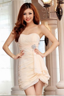 Satin Strapless Dress with Diamond