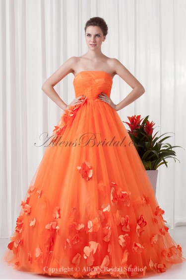 Satin and Net Strapless Ball Gown Floor Length Applique Prom Dress
