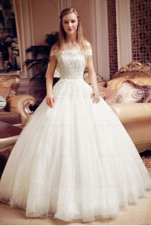 Lace,Net Off-the-Shoulder Ball Gown Dress with Bead
