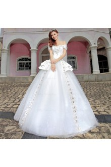 Satin,Tulle Off-the-Shoulder Ball Gown Dress with Diamond