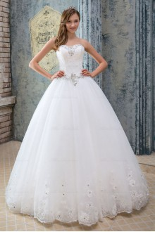 Satin,Tulle Sweetheart Ball Gown Dress with Diamond