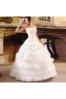 Satin,Tulle Strapless Ball Gown Dress with Bead