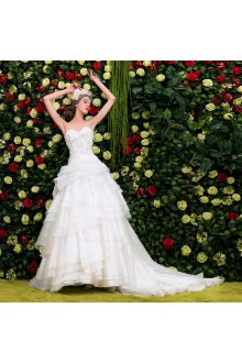 Satin,Lace Sweetheart Ball Gown Dress with Handmade Flowers