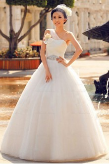 Satin,Tulle,Organza One-shoulder Ball Gown Dress with Handmade Flowers