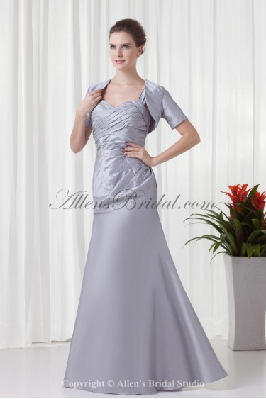 Taffeta Sweetheart Neckline A-line Floor Length Prom Dress with Crisscross Ruched and Jacket