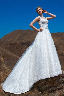 Lace,Satin,Tulle High Collar A-line Dress with Diamond