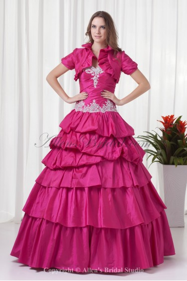 Taffeta Sweetheart Ball Gown Floor Length Prom Dress with Embroidered and Jacket