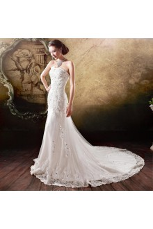 Lace,Tulle Strapless Sheath Dress with Diamond and Embroidery