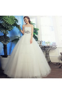 Satin,Tulle Strapless A-line Dress with Diamond