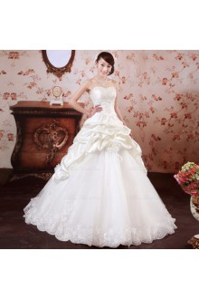 Satin,Tulle Sweetheart A-line Dress with Handmade Flowers