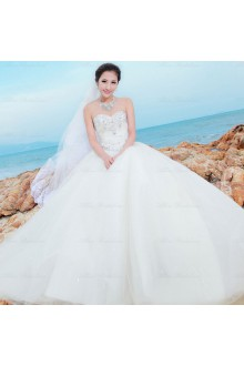 Satin,Tulle,Net Sweetheart A-line Dress with Diamond