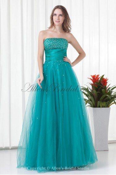 Satin and Net Strapless A-line Floor Length Sequins Prom Dress
