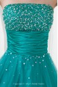 Satin and Net Strapless Neckline A-line Floor Length Embroidered Prom Dress