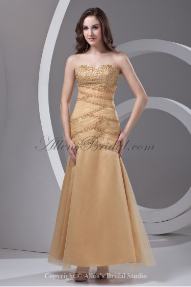 Satin and Net Sweetheart A-Line Ankle-Length Sequins Prom Dress