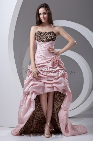 Taffeta Sweetheart A-line Asymmetrical Flowers Prom Dress