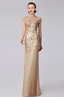 Short Sleeve High Neck Evening Dress Floor-length with Paillettes