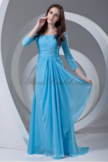Chiffon Square Neckline Sweep Train Column Prom Dress with Three-quarter Sleeve and Gathered Ruched
