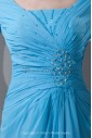 Chiffon Portrait Neckline Column Sweep Train Three-quarter Sleeve and Gathered Ruched Prom Dress