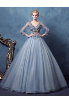 Ball Gown V-neck Lace Evening / Prom Dress with Beading