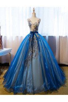 Ball Gown V-neck Evening / Prom Dress with Embroidery