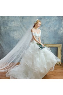 Ball Gown Off-the-shoulder Tulle,Lace Wedding Dress with Beading