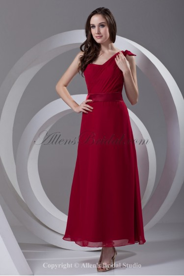 Chiffon Asymmetrical Neckline A-line Ankle-Length Sash Prom Dress