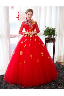 Ball Gown High Neck Quinceanera Dress with Flower(s)