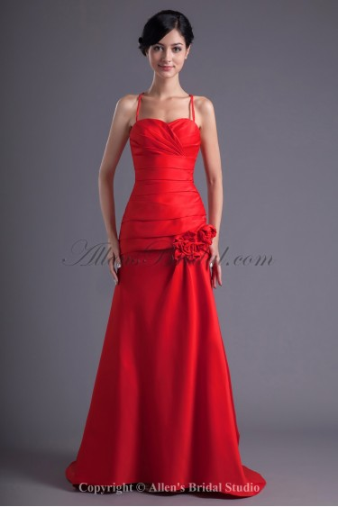 Satin Spaghetti Neckline A-Line Sweep Train Flowers and Directionally Ruched Prom Dress
