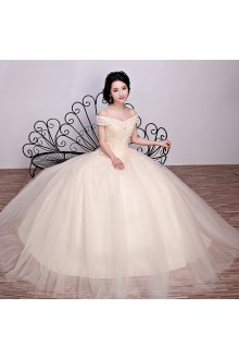 Ball Gown Off-the-shoulder Tulle Wedding Dress