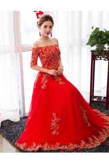 Sheath / Column Off-the-shoulder Wedding Dress with Embroidery