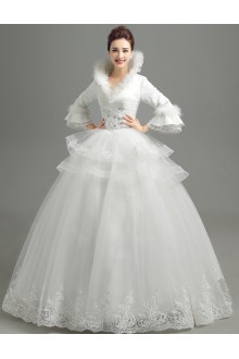 Ball Gown High Neck Tulle Wedding Dress with Sequins